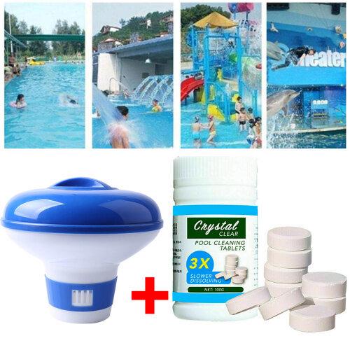 (Floating Chlorine Bromine tablet Dispenser+ 100g Pool Cleaning Tablet ) UK!Floating Chlorine Bromine tablet Dispenser+ 100g Pool Cleaning Tablet For Hot Tub Swim