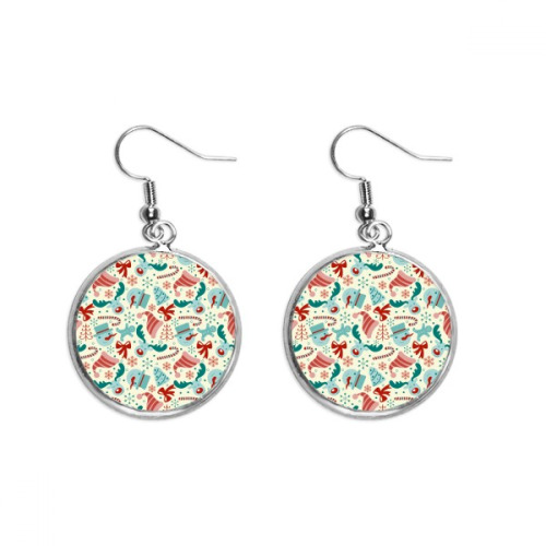 Merry Christmas Tree Abstract Illustration Ear Dangle Silver Drop Earring Jewelry Woman