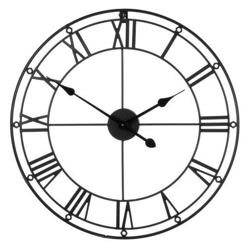 Eye-catching Skeleton Wall Clock, Metal- Black - 59 x 3 cm