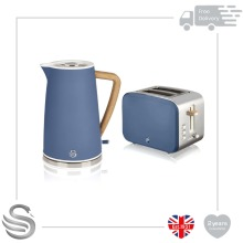 Swan 1.7L Nordic Cordless Kettle 3kW Rapid Boil & 2 Slice Toaster Stainless Steel in Blue