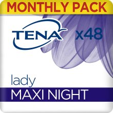 TENA Lady Maxi Night Towels, for Night time Bladder Weakness, Monthly Pack of 48 Incontinence Pads for Women