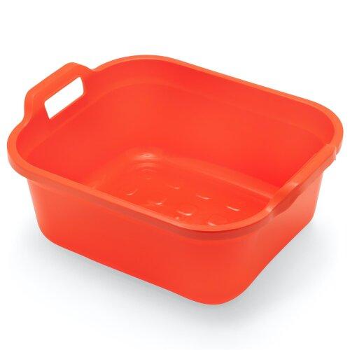 Addis Large Rectangular 9.5 Litre Washing Up Bowl with Handles, Flame Orange, 39 x 32 x 14 cm