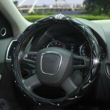 Universal Crystal Diamond PU Leather Steering Wheel Cover Universal