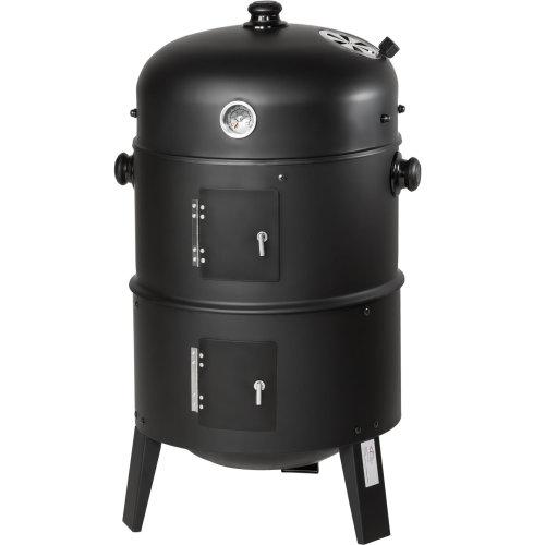 tectake BBQ smoker barrel 3-in-1 - smoker, barbecue smoker, smoker grill - black