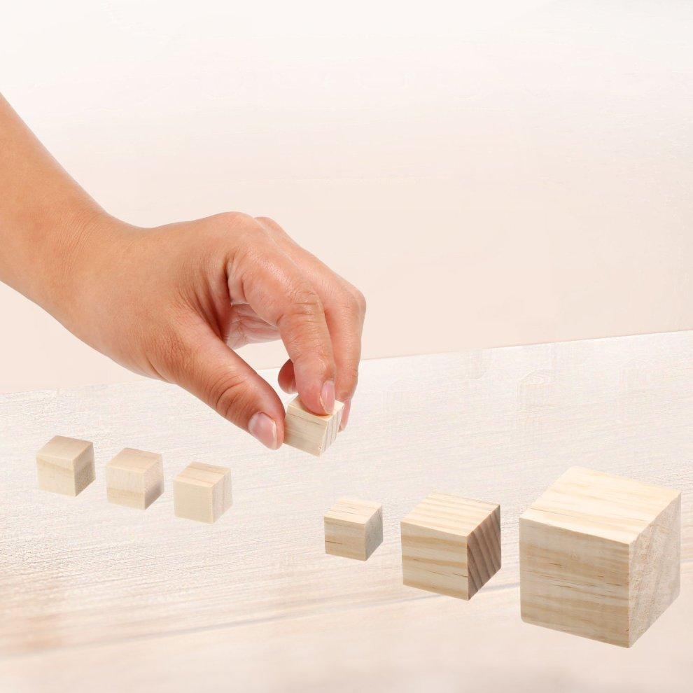 10mm~60mm Natural Unfinished Wooden Square Cubes Blocks DIY Craft Wood Hardwood
