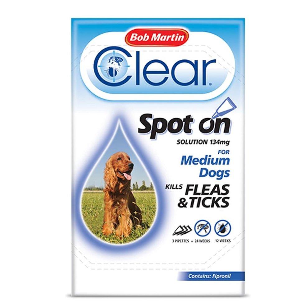 (Medium Dog, Case Of 6 Packs) Bob Martin Clear Spot On Dog