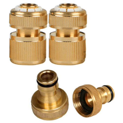 """4P Brass Auto Water Stop Fit Female Hose Pipe Connector Hoselock Clip 1/2"""""""