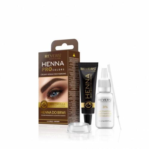 Revers Cosmetics Brown Henna Eyebrow Kit | Semi-Permanent Eyebrow Tint