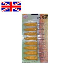 8 x STAINLESS STEEL CORN ON THE COB HOLDERS BBQ PRONGS SKEWERS FORKS PARTY