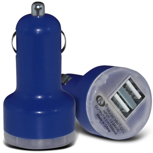 Samsung Galaxy Z Flip Dark Blue Twin Port USB Mini Bullet In Car Charger Adapter