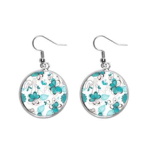 Modern Art Aquamarine Flowers Plants Ear Dangle Silver Drop Earring Jewelry Woman