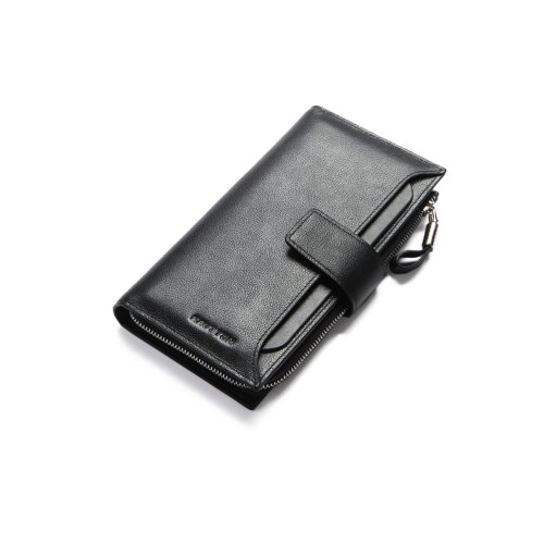 Hautton Leather Pink Clutch Wallet With Pull Out Sleeve. 11 credit Card Slots, ID Slot, 2 Micro SD Slots