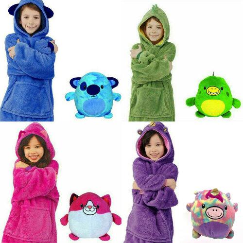 Blanket Sweatshirt - Huggle Pets Hoodie, Plush Animals Bathrobe Pajama Pillow One Size