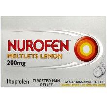 Nurofen Ibuprofen Lemon Meltlets 12 Tablets