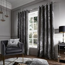 Catherine Lansfield Crushed Velvet Eyelet Curtains Silver, 90x90 Inch