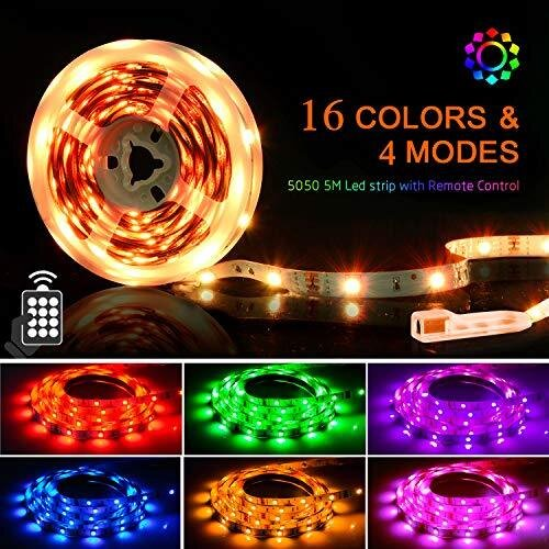 LED Strips Lights 5M, SHINELINE 16.4Ft RGB SMD 5050 Dimmer Colour Changing Kit with 24 Keys Remote Control Mood Light for Home Kitchen Christmas Wed