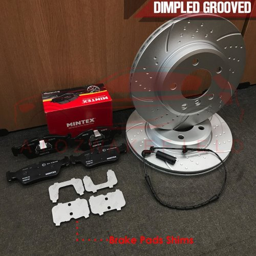 FOR BMW 3 SERIES E46 328 Ci FRONT DIMPLED GROOVED BRAKE DISCS MINTEX PADS SENSOR