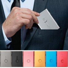Thin Sliding Stainless Steel ID Card Holders, Business Card Cases Elegant Metal Hand-push Credit Bank Card Box