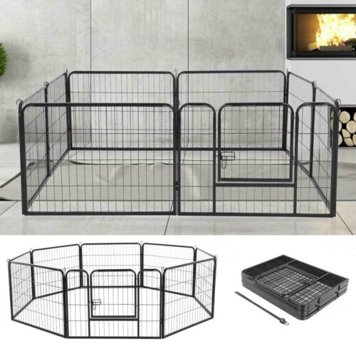 8 Panel Foldable Pet Play Pen Puppy Dog Animal Cage Run Fence Playpen