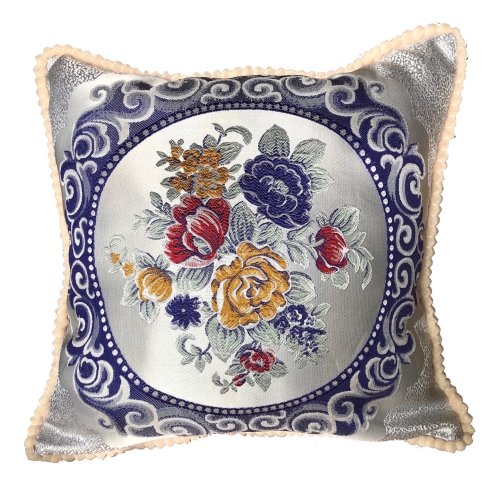 (Blue) Floral Vintage Embroidered Woven Cushion Cover
