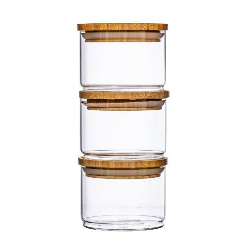 Stacking Glass Storage Jars - Set of 3 Bamboo Lid Eco Friendly Jars
