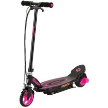 Razor Power Core E90 12 Volt Scooter - Pink, Push Button Throttle, Retractable Kick Stand Operated, Front Brake, ,Wheel Hub Motor, For 8 Years+ - Pink