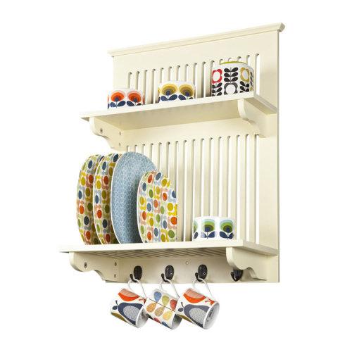 Aston Buttermilk Wooden Kitchen Plate Rack, wall mounted shelf, hooks