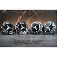 Set of 4 Full Black Mercedes alloy wheel caps 75mm