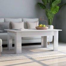 Coffee Table High Gloss White 100x60x42 cm Chipboard