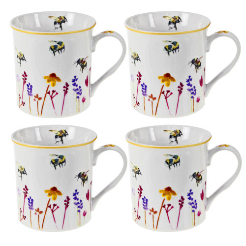 Set of 4 Busy Bees Tea Party Cups Drinking Mugs Watercolour Floral Print Design