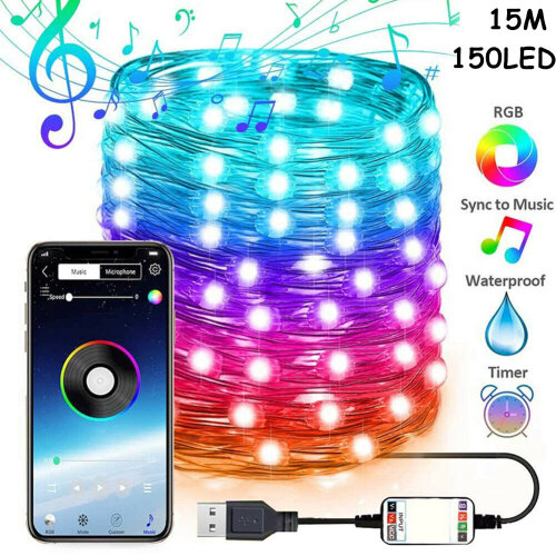 (15M-150LED) UK Stock! Christmas Tree Decoration Lights Custom LED String Lights App Remote Control