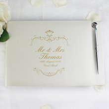 Wedding Day Personalised Gold Ornate Swirl Wedding Guestbook & Pen