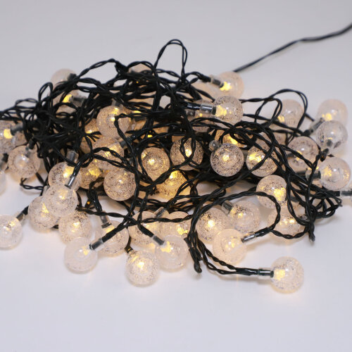 (Warm white) Outdoor Solar-Powered 50-LED String Lights - 7M