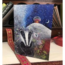 Yule Badger Greetings card by Hannah Willow