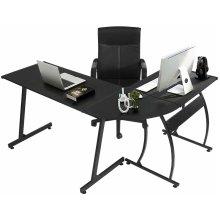 Black Wooden L Shape Computer Desk Home Office Workstation Corner Laptop Table