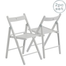 Folding Chairs Wooden Wood Studying Dining Office Student Uni Chair White x2