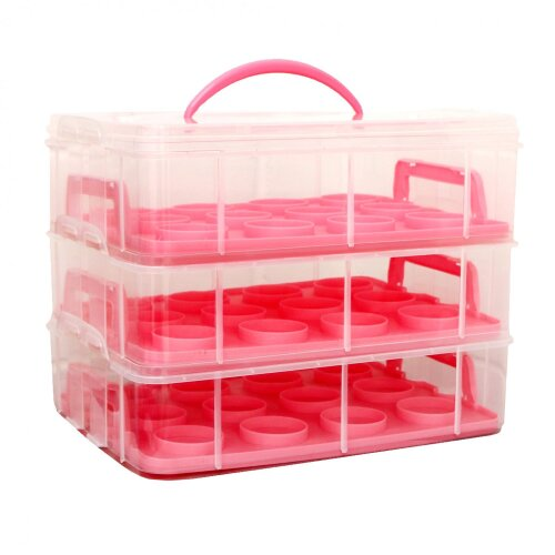 Oypla Pink 3 Tier 36 Cupcake Plastic Carrier Holder Storage Container