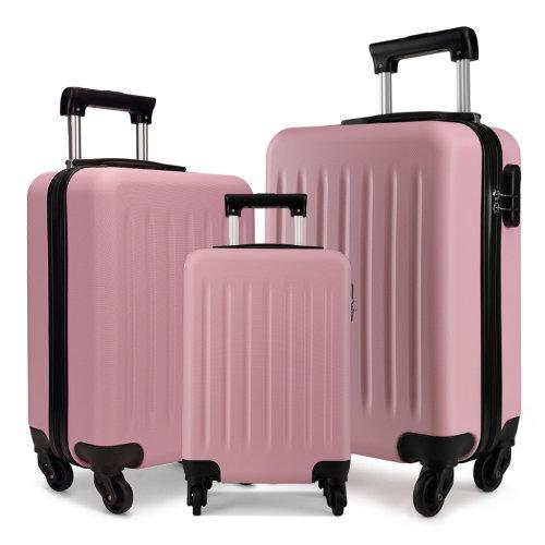 Medium Pink Lightweight Wheeled Briefcase Solid Pattern Hard-Shell Design