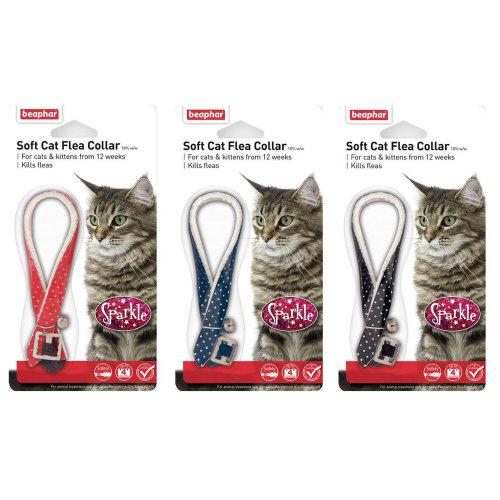 (Sparkle, 1 Pack) Beaphar Soft Cat Flea Collar - Reflective, Velvet and Sparkle