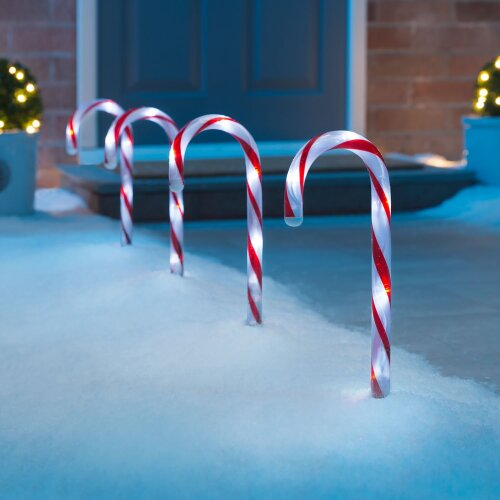 (Red & White, Mains) Candy Cane Lights Small LED Christmas Pathway Decorations Battery Or Mains x 4