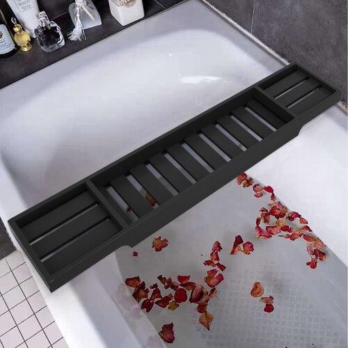 Black Bamboo Wood Bath Tray Tub Rack Bathroom Shelf Tidy Organiser