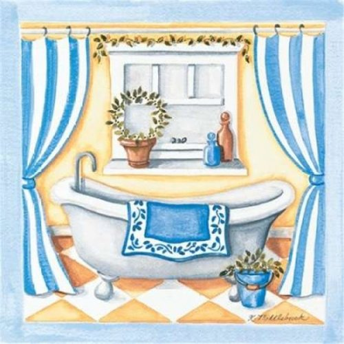 Blue Bathroom Tub Poster Print by Kathy Middlebrook, 12 x 12 - Small