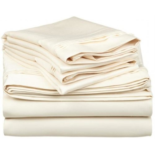 Egyptian Cotton 650 Thread Count Solid Sheet Set  California King-Ivory