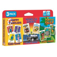 3pk Children's Card Games - Jungle Snap, Pairs on Wheels & Happy Families