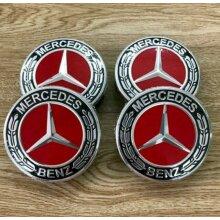 Mercedes Red Alloy Wheel Centre Hub Caps AMG A B C E S M Class ML 4)