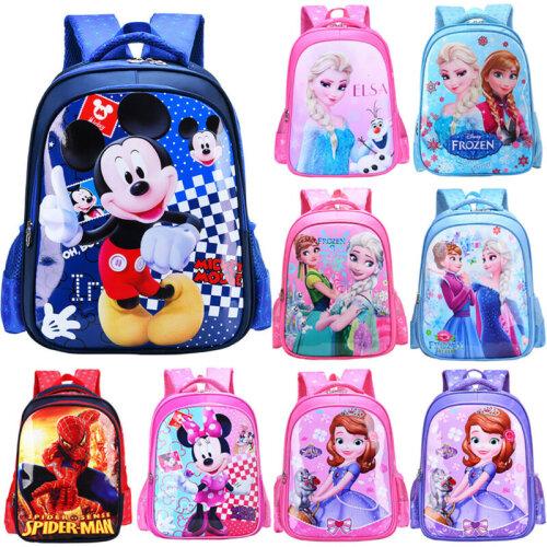 Girls Boys Kids Backpack Elsa Anna Mickey Spiderman Character Rucksack School Bag