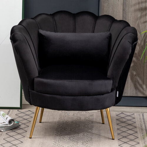 (Black) Armchair Velvet Upholstered Tub Chair Comfy Accent Chair