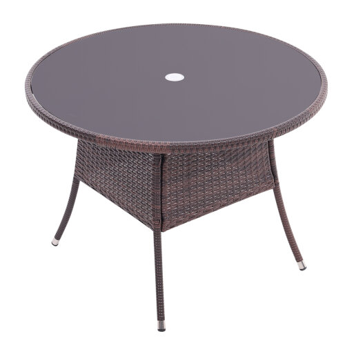 (Brown) Rattan Outdoor Garden Table Patio Dining Tables with Parasol Hole