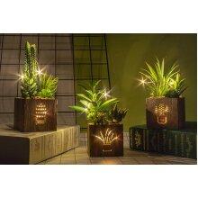 Artificial Succulents Led Lights Wooden Box Artificial Plants Plastic New