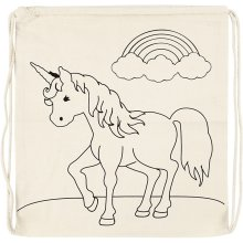 Drawstring Bag Unicorn size 37x41 cm 110 g/m2 light natural unicorns